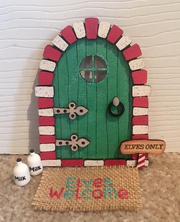 Elf door elf shelf christmas fairy doormat milk for Elf door ideas