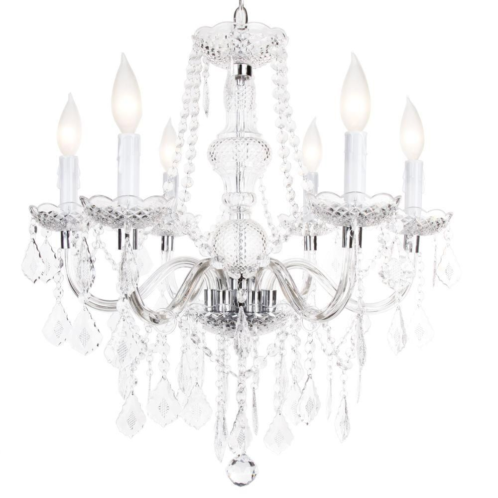 Hampton bay maria theresa 6 light chrome and clear acrylic - Inexpensive chandeliers for bedroom ...