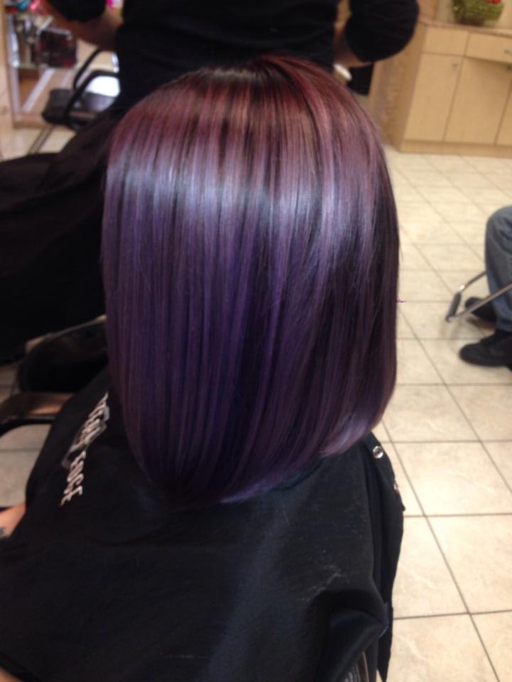 pastel purple hair long bob lob. done by Nicky