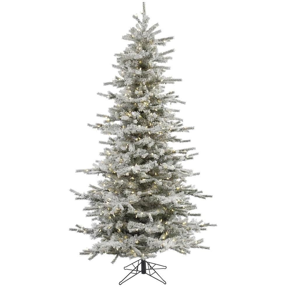 7.5 FT LED Pre Lit Flocked Christmas Tree | Ranong_sep | Pinterest ...