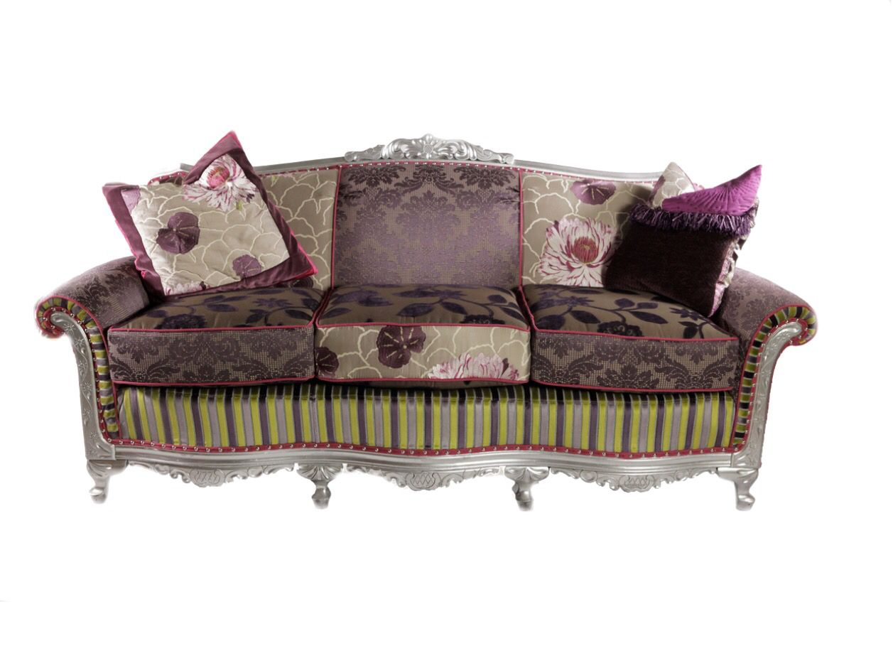 Purple custom sofa. Oneofakind, multi fabric