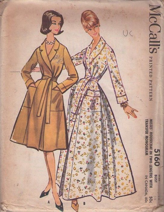 78605c8fd3 McCall s 5160 Vintage 50 s Sewing Pattern DIVINE Mad Men Lucy Sweeping  Gored Skirt Shawl Collar House Coat