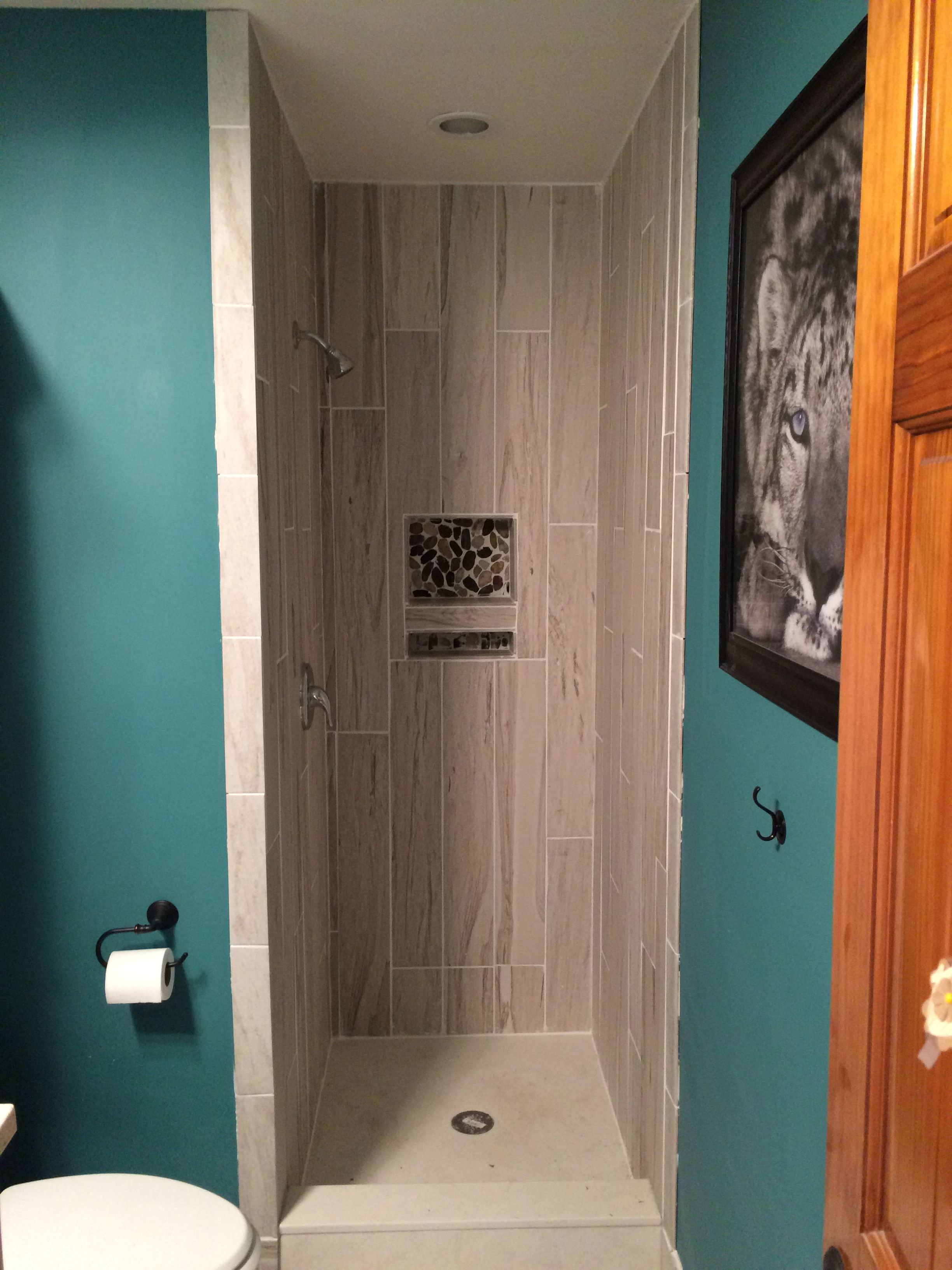 Half Bath Converted To Full Bath Using Foyer Coat Closet That Was Behind The Wall Bathrooms Remodel Simple Bathroom Remodel Budget Bathroom Remodel