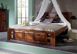 Massivholz Kolonialstil Bett 160x200 Classic Akazie Oxford 252