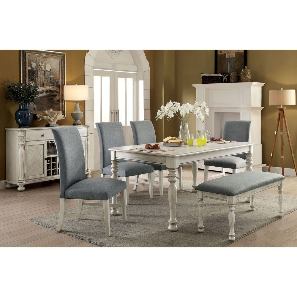 The Gray Barn Wilder Antique White Wood 6 Piece Dining Table Set With Bench In 2020 White Dining Room Sets Black Dining Room Furniture Dining Table
