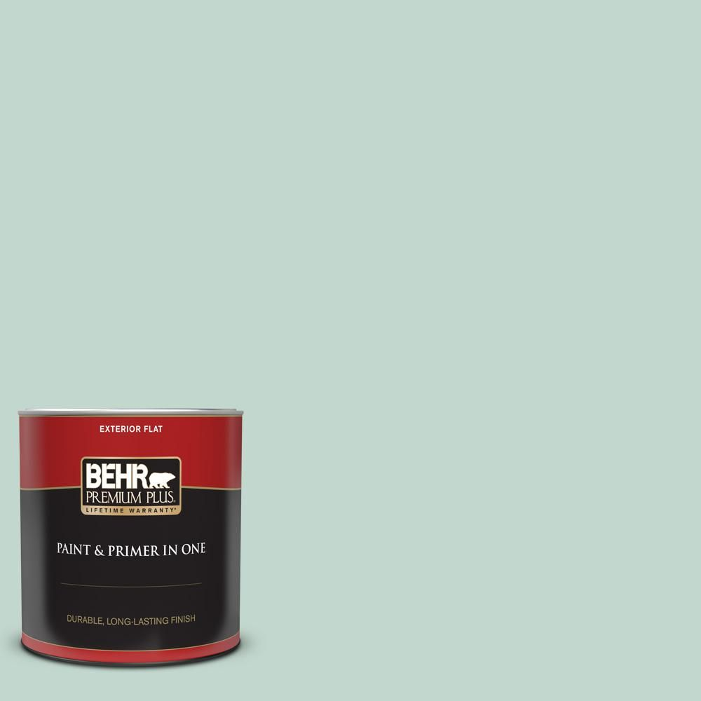 BEHR PREMIUM PLUS 1 qt. #470E-3 Aqua Smoke Flat Exterior Paint and Primer in One-405004 - The Home Depot