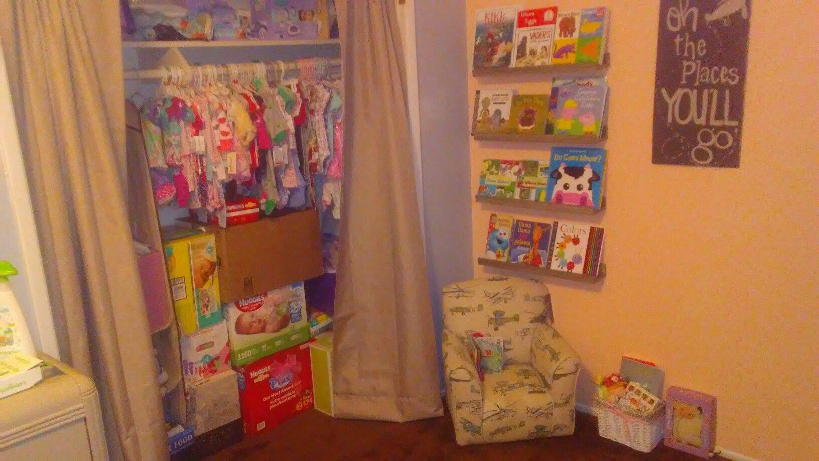 My Nursery Reading Area And Closet Due July Kim