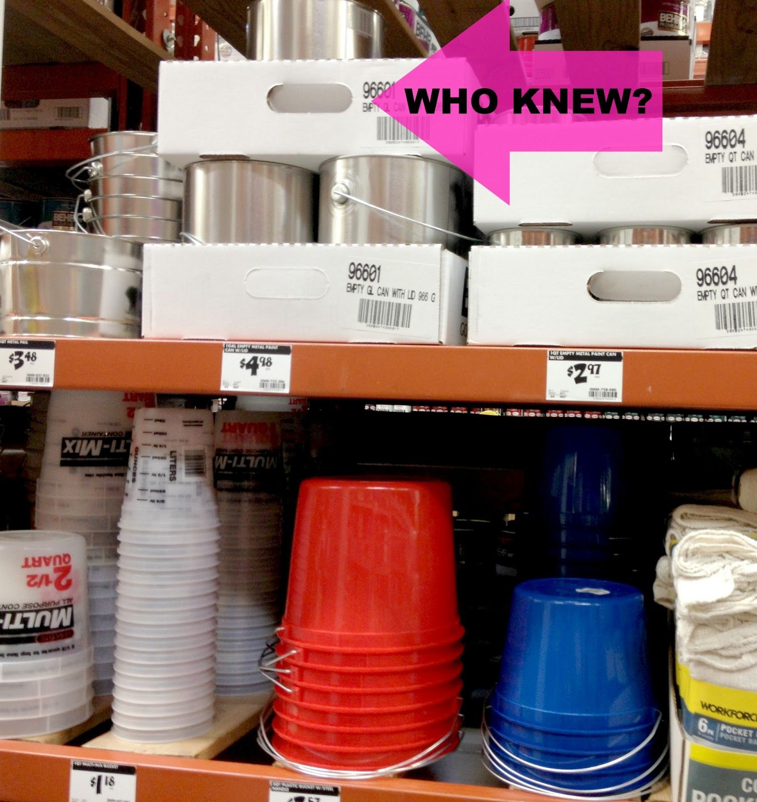 at Home Depot empty paint cans The gallon cans are about $4 and