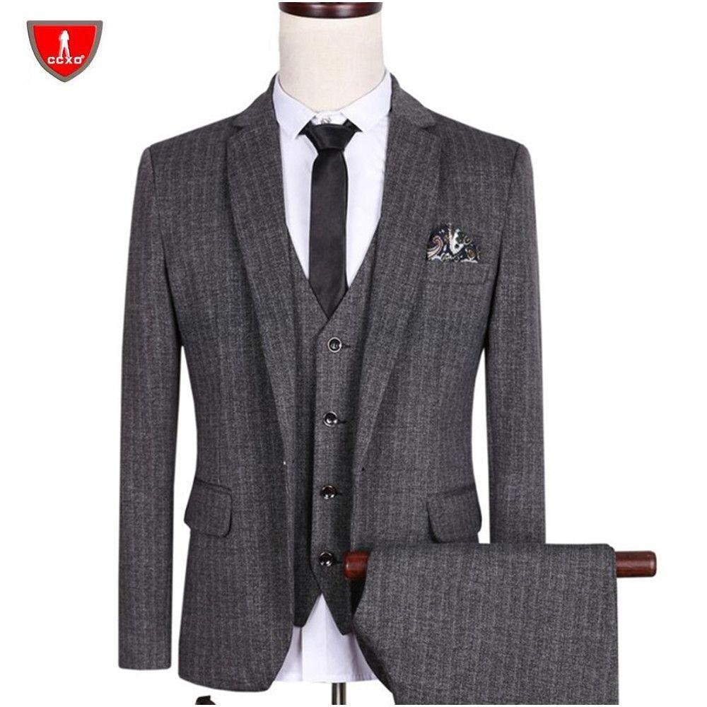 Hot Sale Men Suit M-5XL Dark Gray Blazer Single Breasted Cutton Slim ...
