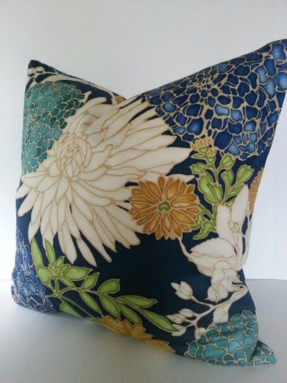 Designer Floral Pillow Cover / Asian Inspired