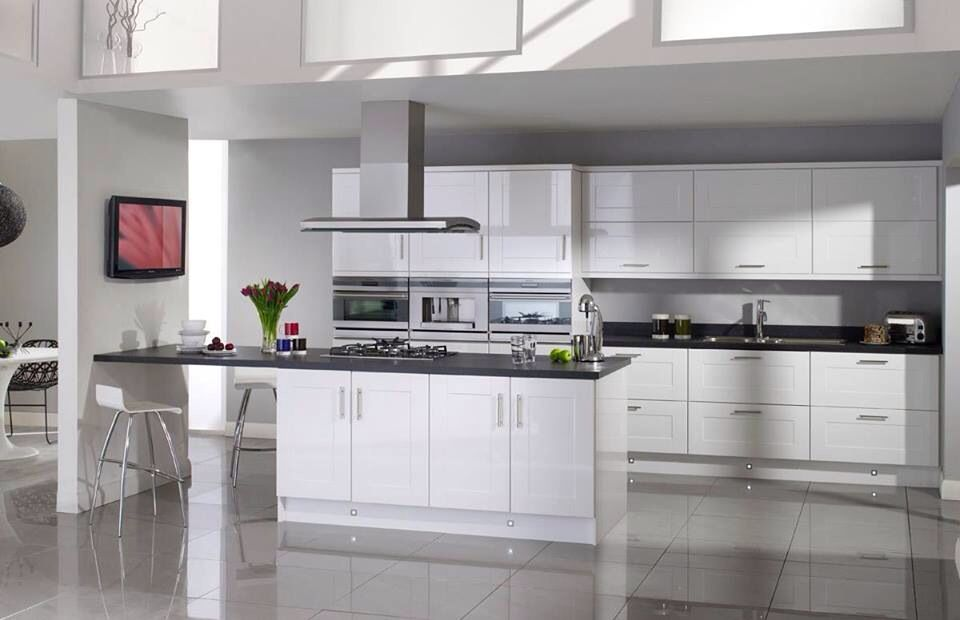 Contemporary White Shaker Kitchen topfitkitchens: the salerno gloss white kitchen with slate pv edge