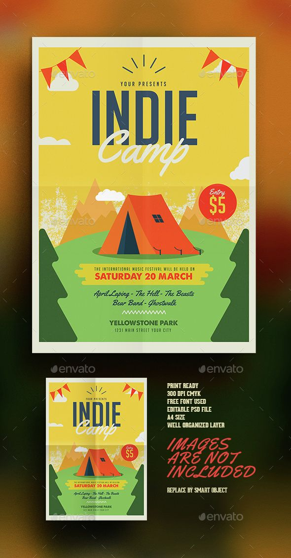 Indie Camp Vol 02 Flyer template, Indie and Template