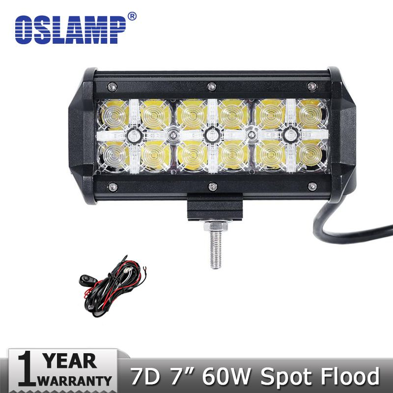 Oslamp 7inch 60w 7d cree chips spot flood beam led work light bar oslamp 7inch 60w 7d cree chips spot flood beam led work light bar offroad for 12v mozeypictures Image collections