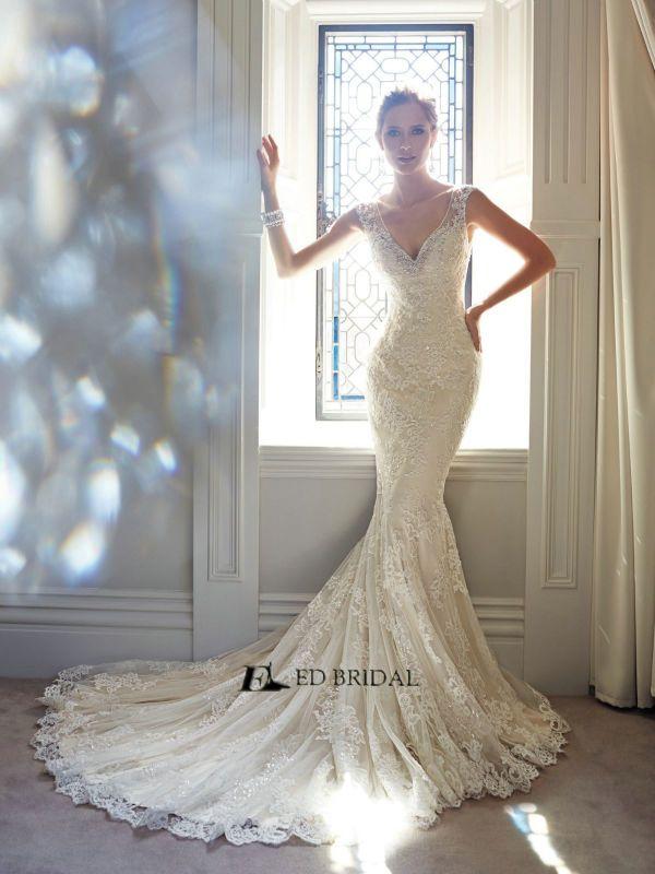 Spanish Wedding Dresses Mermaid Court Train Beads Lace 2017