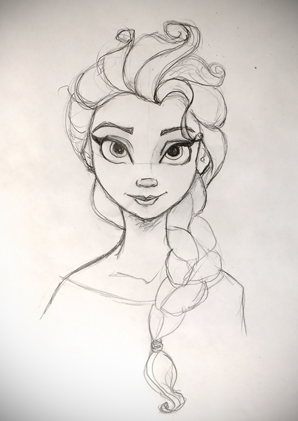Disney Doodles Sunday Morning Sketch Of Elsa From Frozen Based