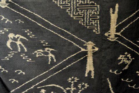 久留米絣 電信柱が建ち始めた当初に作られた、電線模様の絣 Kurume-kasuri(kimono with splashed pattern ) / telegraph pole pattern