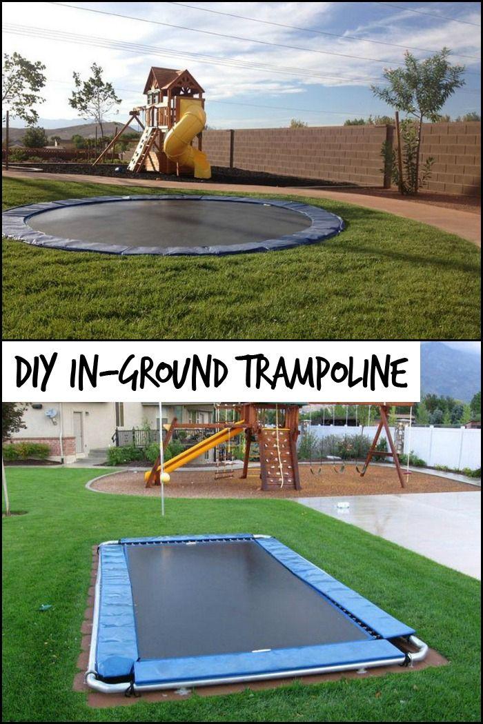 Diy Inground Trampoline Backyard Trampoline Backyard For Kids Backyard Playground