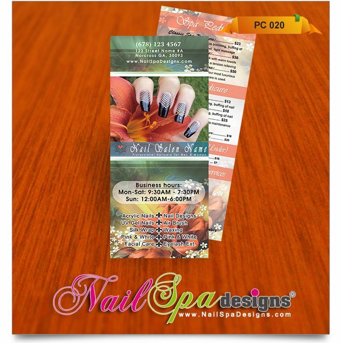 Price List template for Nail Salon Visit wwwNailSpaDesigns - price list template