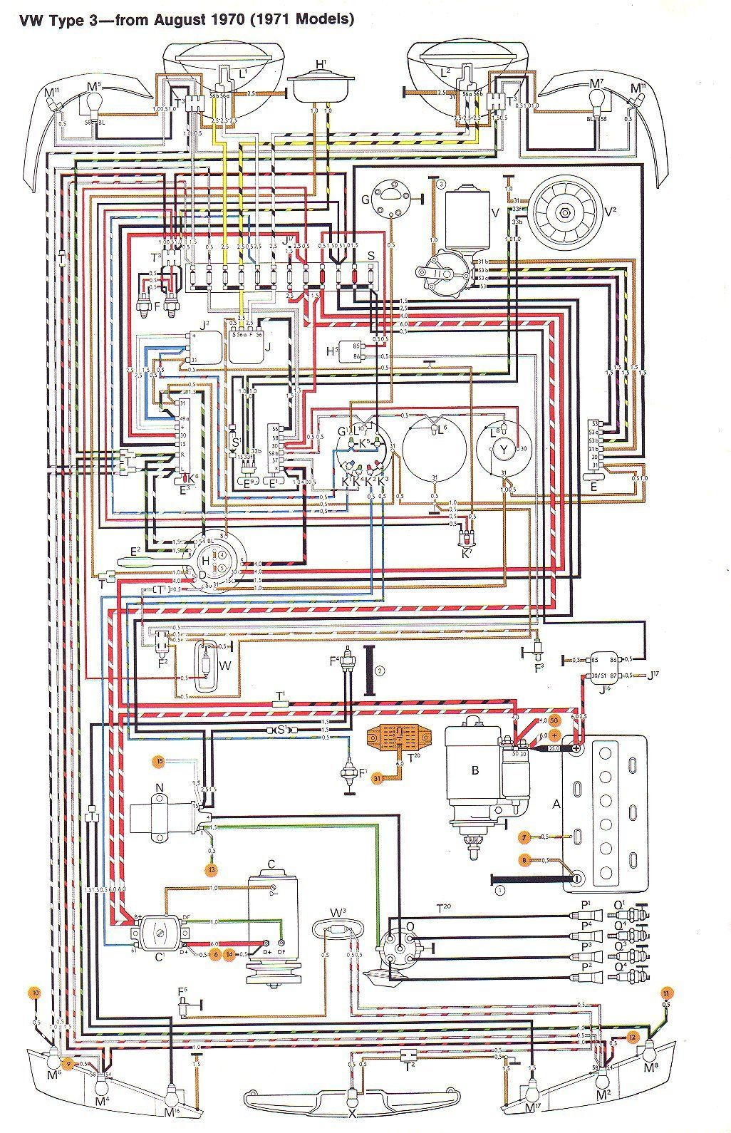 71 VW T3 wiring diagram | Ruthie | Electrical diagram
