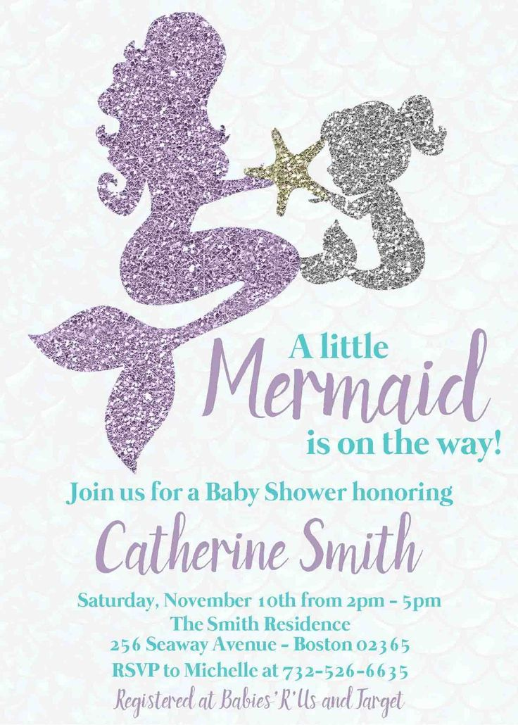 Mermaid Baby Shower Invitation Mother Baby Personalized Teal ...