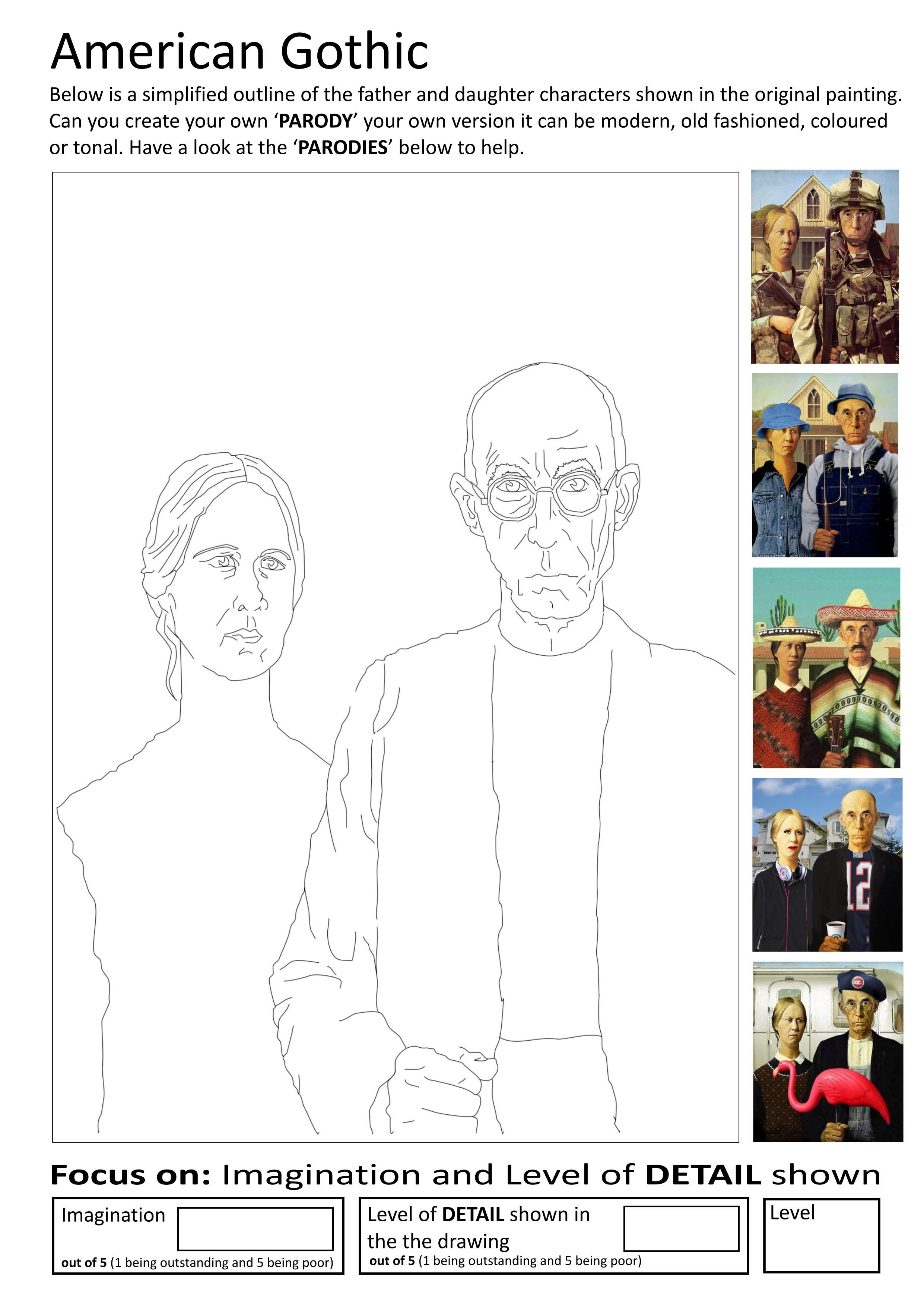 Art Ed Central Loves This American Gothic Worksheet Art Parodies