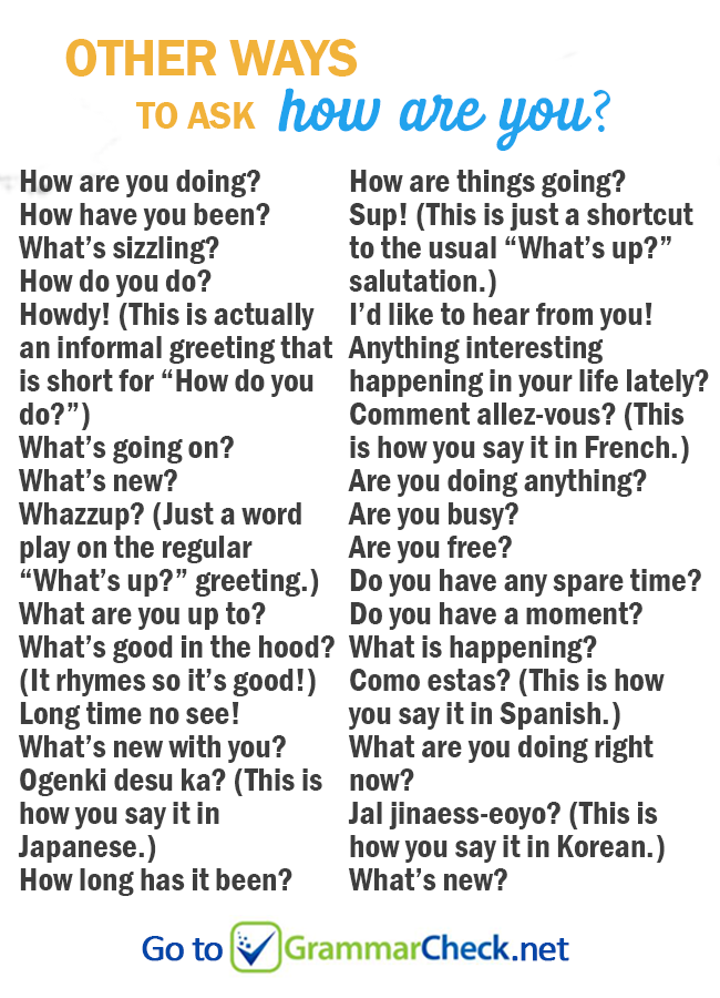 LIST: Other ways to ask how are you? | English