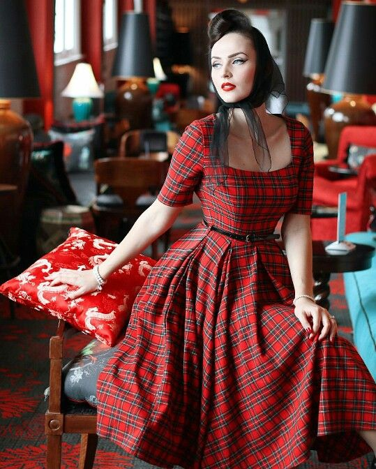 Dress Vintage 50s Style Perfect For Christmas Black And