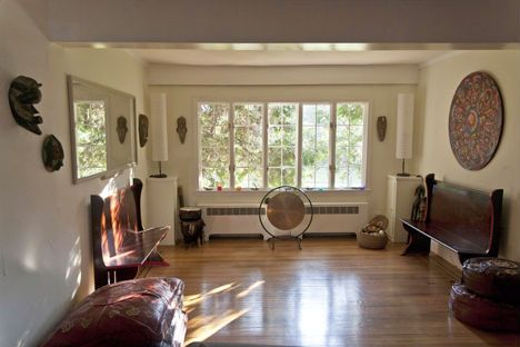 A serene space for private yoga clients, yoga teacher trainings ...