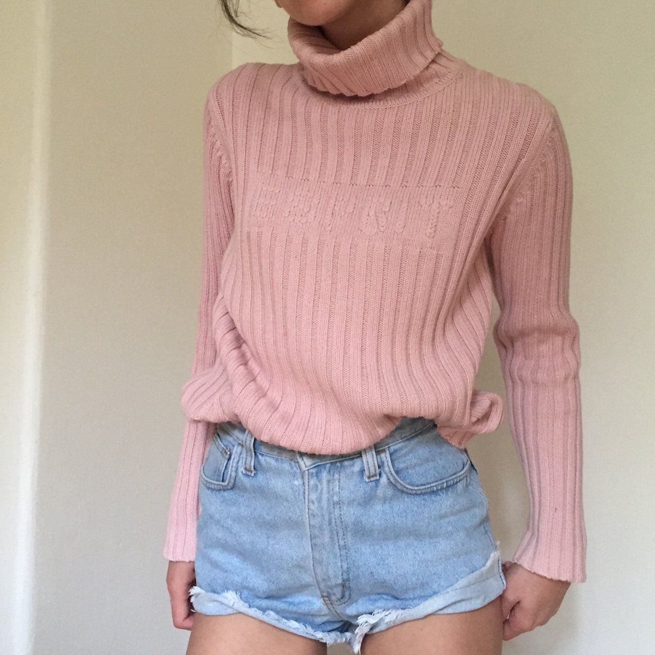 02fcb37b4 Esprit baby pink ribbed turtleneck sweater 💗 Vintage roll neck sweater in  the most beautiful shade of pastel pink. Would fit sizes 6 8 10.