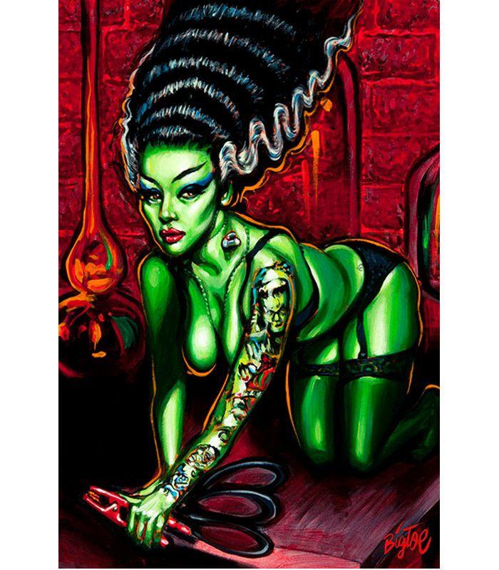 Lowbrow Novia Del Monstro Art Print by Artist Big Toe in ... | 700 x 800 jpeg 98kB