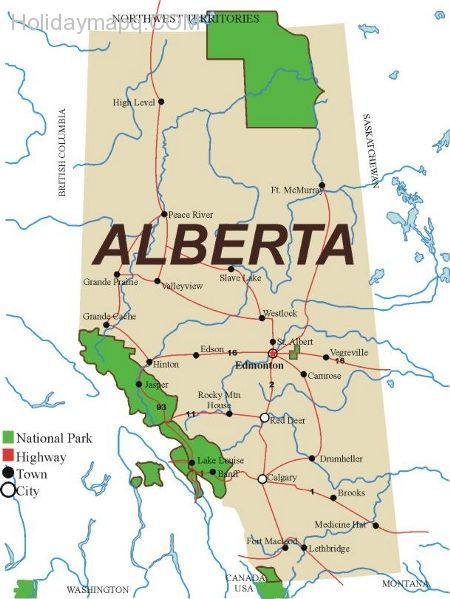 Map Of Banff Alberta Canada awesome Map of alberta   Holidaymapq   Parks canada, Waterton