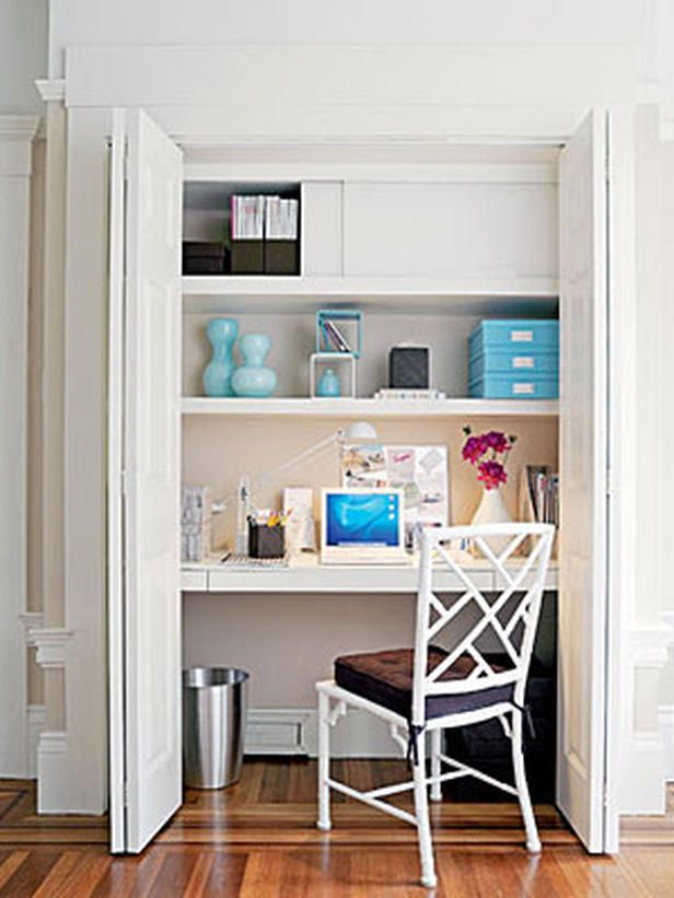 Closet Turned Into A Hideaway Office