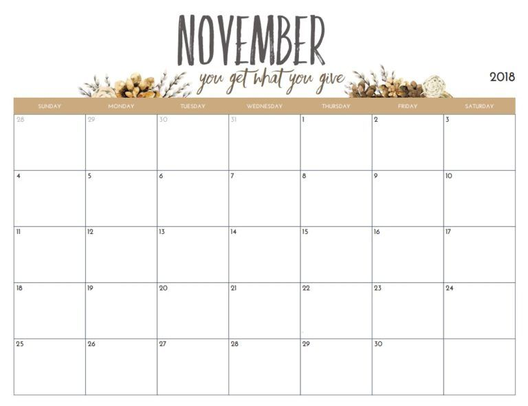 Free Printable November 2018 Monthly Calendar Calendar