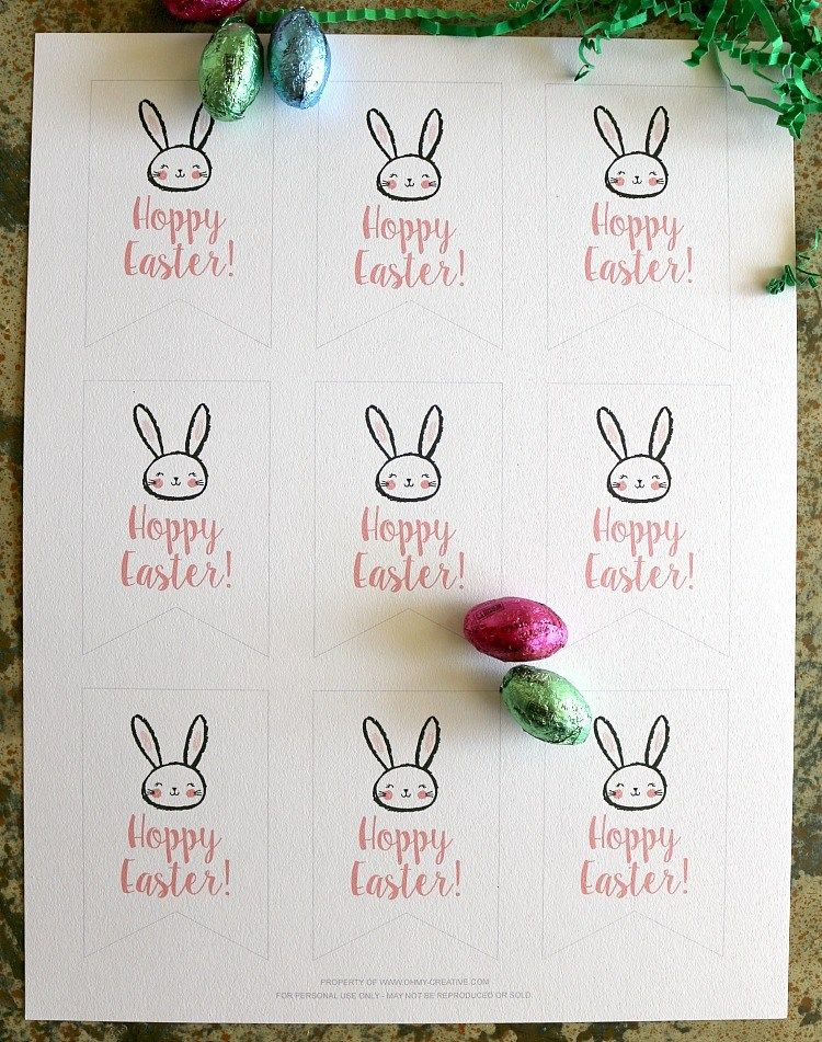Free Printable Hoppy Easter Gift Tags - Oh My Creative