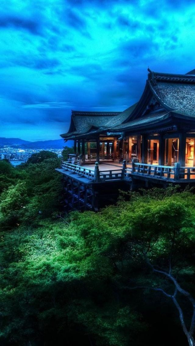 Kiyomizu temple, founded in 798 (its present buildings were constructed in 1633) The large verandas is very popular among tourists