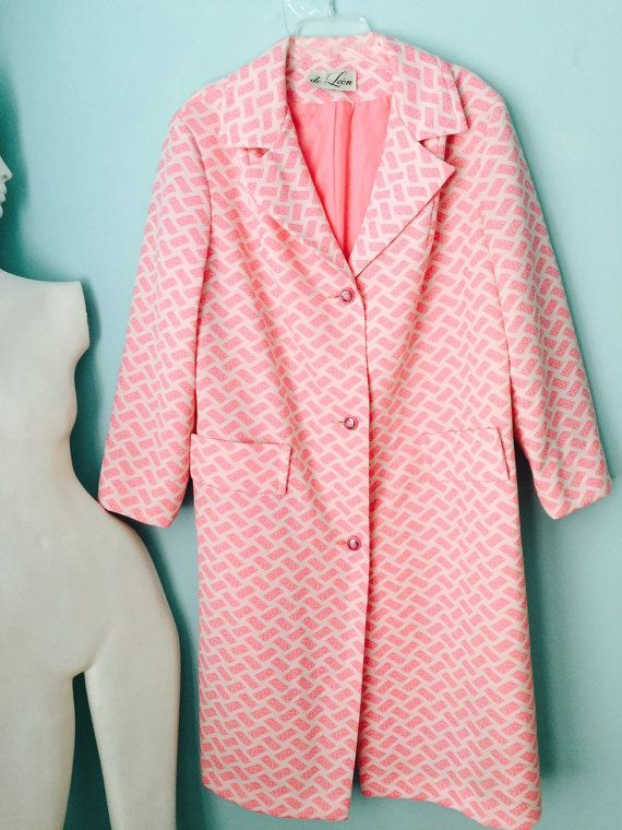 50s/60s Pink/white De Leon coat domino dice pattern long Large L formal mid century hollywood regency Couture Union Made