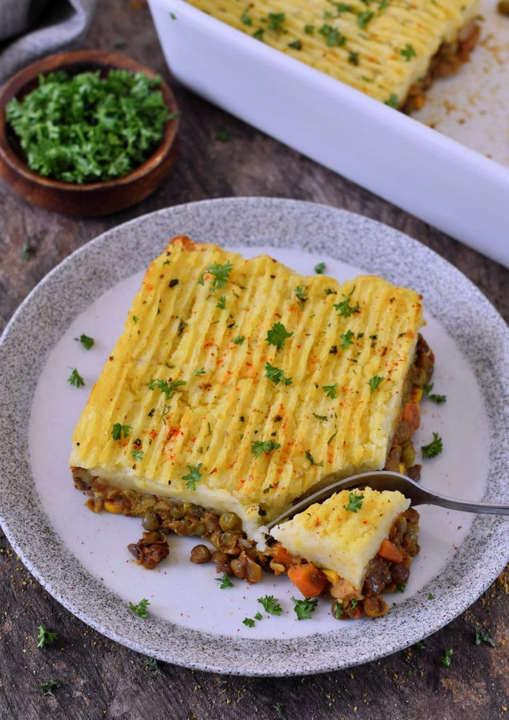 Vegan Shepherds pie with lentil filling This delicious wellness dish is g   Vegane Rezepte