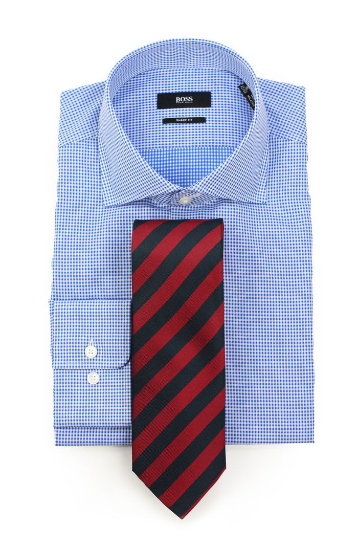 Red and blue striped tie paired with micro check dress for Blue check dress shirt