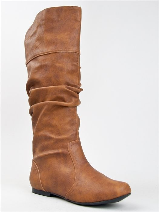 NEW QUPID Women Basic Slouch Knee High Flat Boot Shoe brown tan sz Cognac  neo144 #Qupid #FASHIONKNEEHIGH $35
