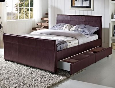 Tgc Dresden King Size Brown Faux Leather 4 Drawer Bed Frame
