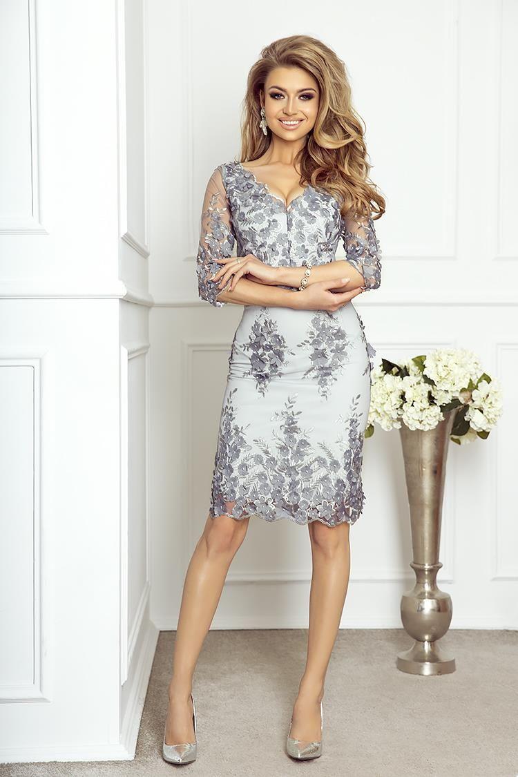 3a99905c96 Elegancka Dopasowana Sukienka z Gipiury Cleo Szara w 2019