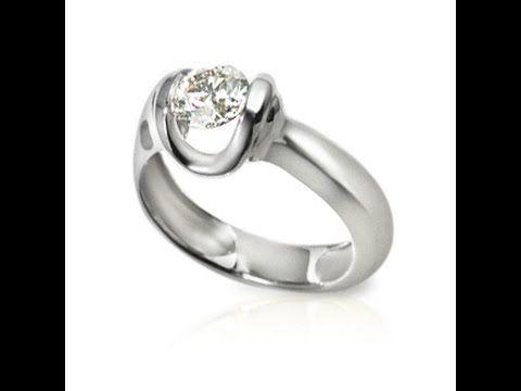 טבעות אירוסין מעוצבות טבעת עם יהלום מרחף לנועזות-7073