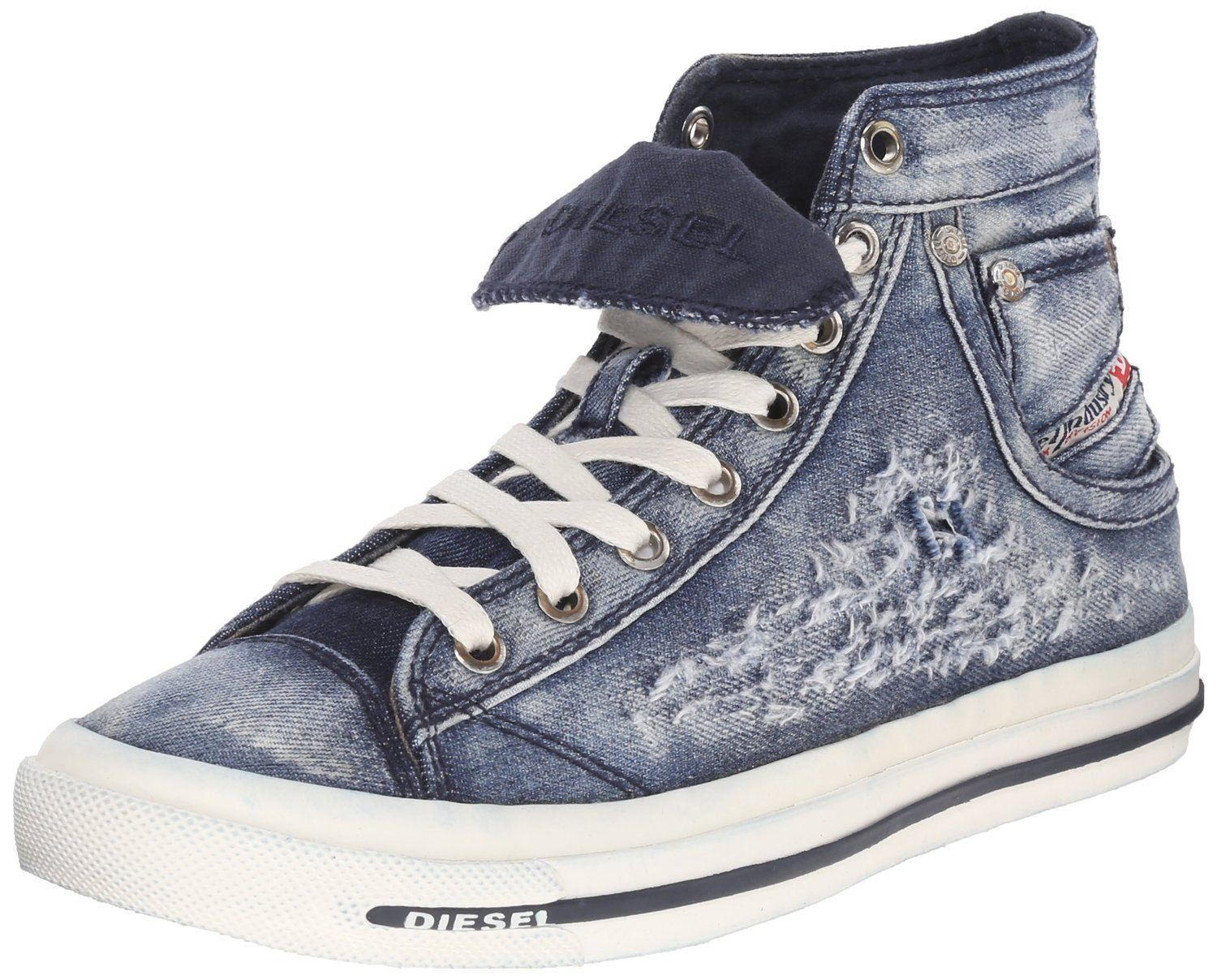 bccddc0844 Diesel Exposure IV W Indigo White Womens Canvas Trainers Boots-8. Awesome  retro inspired Hi Top sneaker from Diesel. Cool patterned denim fabric  upper with ...