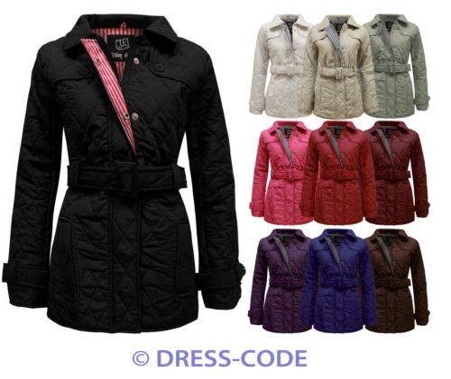 NEW LADIES QUILTED BELTED PADDED ZIP JACKET COAT