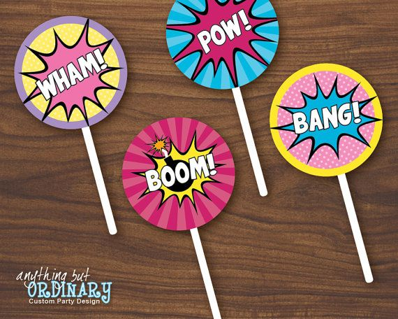 Girls Superhero DIY Party Circles for Cupcake by ABOcustomDesign