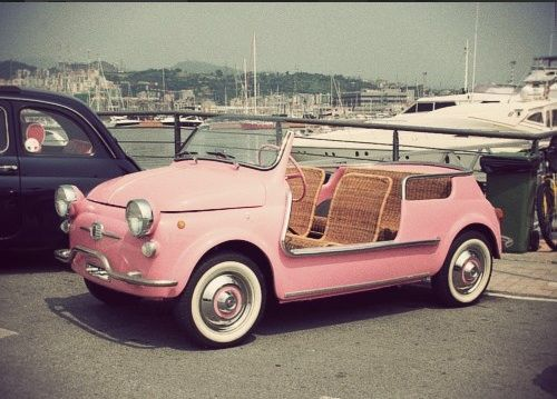 Pink Convertible Fiat 500