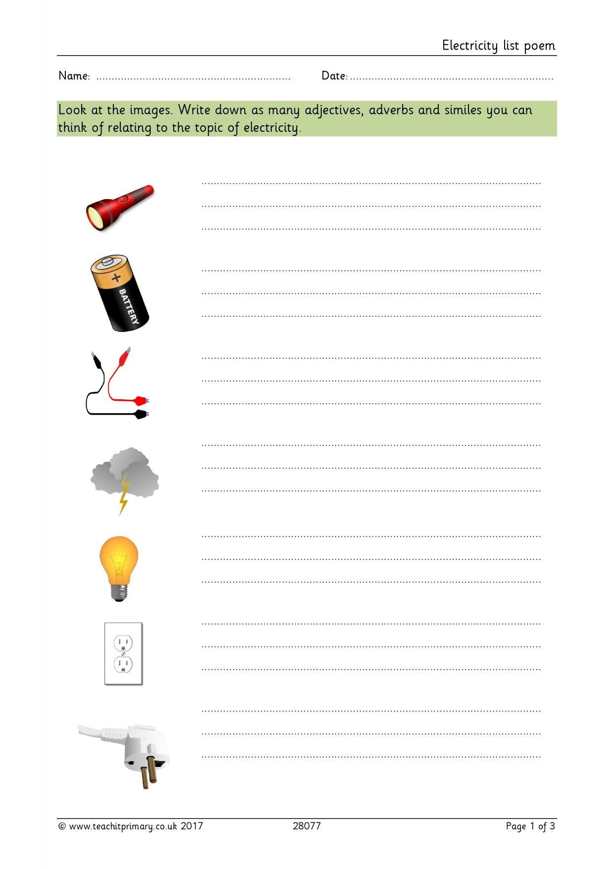 Bill Nye Electricity Worksheet In