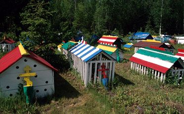 Eklutna Cemetery near Anchorage, AK (these are graves)
