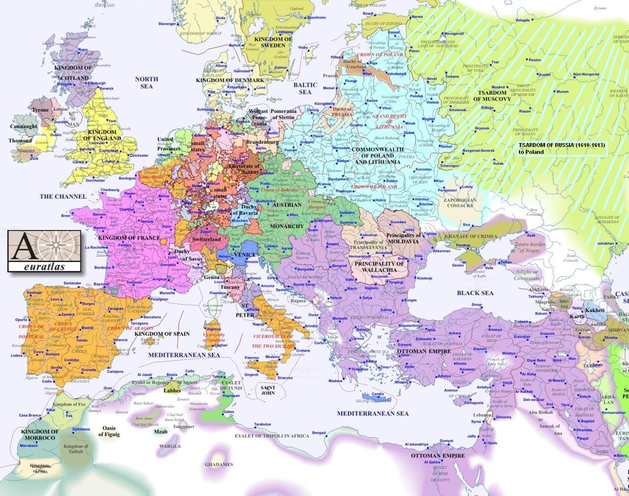Europe Map 1600 17th Century Wikipedia The Free Encyclopedia