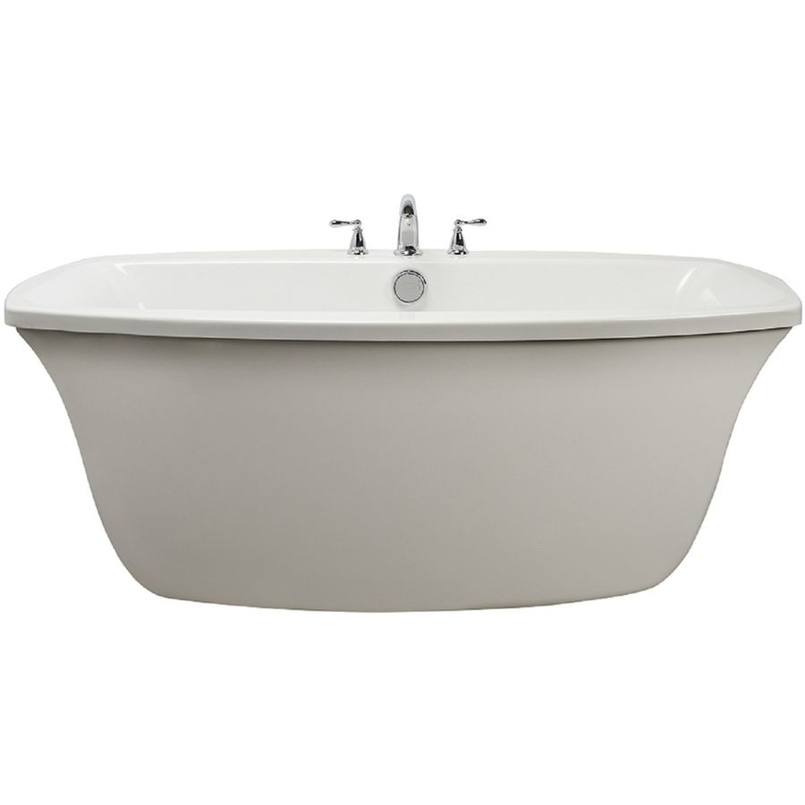 Jacuzzi Primo White Acrylic Oval Freestanding Bathtub With Center ...